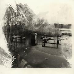 Frosen benches (K.Pihl) Tags: alternativeprinting sonnar150mmf40 darkroom analog pulled hc110b hasselblad500cm pellicolaanalogica schwarzweiss bw film ilfordhp412564 blackwhite