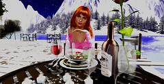 Red wine, dinner, a rose...Do you want something baby? (Trexy SL ️) Tags: romantic trexy beautiful dinner red wine rose candle bottle face pink minahair maitreya genesislab sofiebentohead