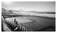 Fishes in the pool (mattwiskas) Tags: canaria canaries grand fish fishing boys garçons pêche noir et blanc black white contrast sea ocean water wind waves