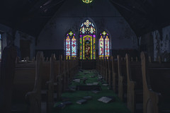Holy (IAmTheSoundman) Tags: jakebarshick cleveland urbanexploring urbex abandoned church stainedglass 28mmtakumar supertakumar manualfocus m42 sony a99 bible