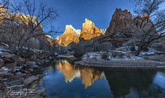 Morning Reflections Of The Patriarchs, Zion National Park, Utah (rebeccalatsonphotography) Tags: water river virginriver reflection reflections patriarchs courtofthepatriarchs ut utah zion np nationalpark sunrise morning winter february wideangle canon rebeccalatsonphotography 5ds 1124mm