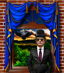 The man with the bowler hat - Tribute to René Magritte (Marco Trovò) Tags: marcotrovò canon5d hdr ameno novara italia italy panorama scenery fantasy portrait ritratto magrittetribute
