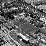 1958 aerial of University Plaza before the bricks.