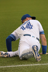 Smoak Stretches (peterkelly) Tags: digital canon 6d northamerica torontobluejays toronto ontario canada bluejays justinsmoak stretching stretch hat blue field battingpractice player baseball mlb skydome rogerscentre game