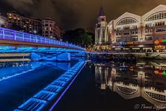 night on the river (funtor) Tags: color night river blue light city singapore illumination bridge