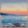Sunrise 1 (sarahkhoury) Tags: pencildrawing brownpaper pencil costaazzurra cotedazur frenchriviera drawing artist art sketch sketchbook seasketch urbansketchers sunrise mediterranean sea seascape seaside colored pencils