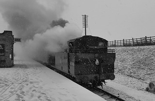 LMS Jinty 47406 arriving at Quorn, Great Central Railway. 21 01 2018