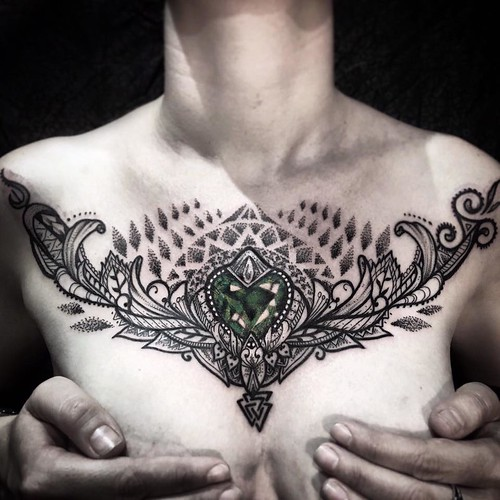 Ayrton sickbird tattoo chest jewel