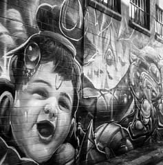 Newtown Graffiti (BunnySafari) Tags: newtown sydney graffiti bw film yashica124g fpp havecamerawilltravel twinlens