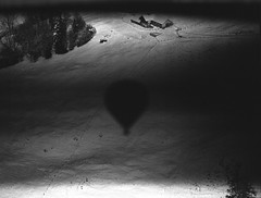Camera Malfunction at 1,000ft (Film) (Harald Philipp) Tags: 120 film pentax 645n 645 645nii monochrome bw blackandwhite ballooning switzerland balloonfestival châteaud'œx velvia nature aerial hotair mediumformat