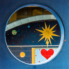 Cosmic Love - Explored (DobingDesign) Tags: abstract round window london streetphotography heart stars harrisfencing curves sun stellar lightning poweroflove electricity magnetic planets interplanetary streetart mural shapes valentine