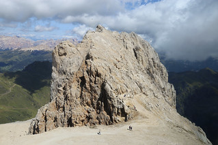 Climbing up the giant rock of Punta Serauta 2962m