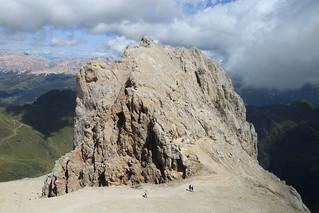 Climbing up the giant rock of Punta Serauta 2962m