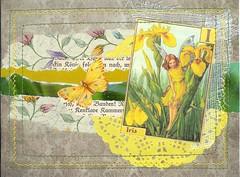 February Flowers (Rocky_Beach) Tags: swapbot mailart postcard iris yellow fairy butterfly green sewn