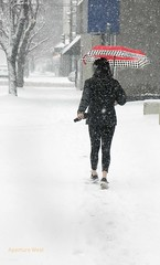 Lone woman with red umbrella in snow storm (tbeckeryvr) Tags: winter snow person red color lonely flakes storm urban city sidewalk frigid season pedestrian protection