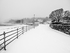 Victoria Parade 2 - Dunoon March 2018 (GOR44Photographic@Gmail.com) Tags: olympus omdem5 1240mmf28 dunoon scotland mono bw argyll cowal snow white winter black gor44 sea coast trees