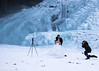 Cold Wedding (katrin glaesmann) Tags: iceland seljalandsfoss unterwegsmiticelandtours photographyholidaywithicelandtours snow winter frozen people couple wedding bride groom photographer weddingdress tripod stairs accidentalweddingphotographer