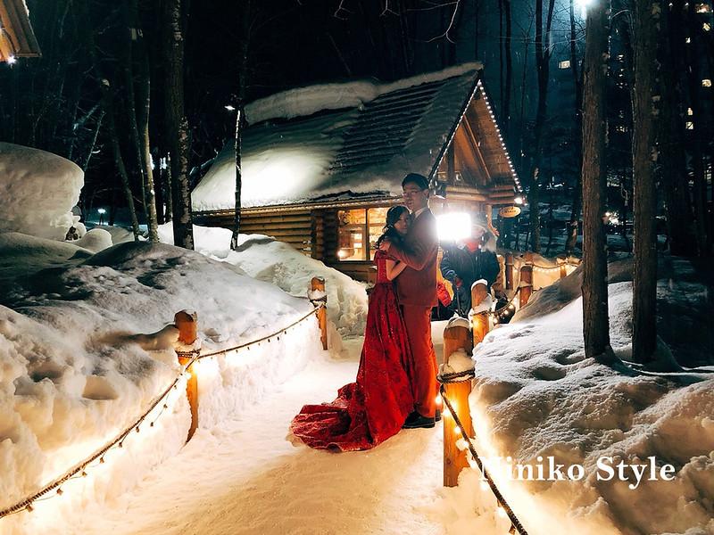 北海道,夜景,雪,小木屋,自助婚紗