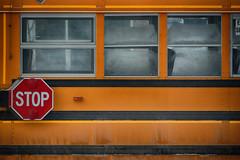 Stop! (flashfix) Tags: february032018 2018inphotos ottawa ontario canada nikond7100 55mm300mm nikon flashfix flashfixphotography bus schoolbus stopsign lines vehicle windows saltybus salt dirt
