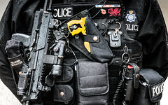 The Police Business (DobingDesign) Tags: equipment policeofficer gun taser pepperspray medicalpacks bodyarmour police ministryofdefencepolice london lasersight ammunition yellow tasergun kit armed streetphotography centrallondon firearm protection defence protector defender medals ribbon policeequipment