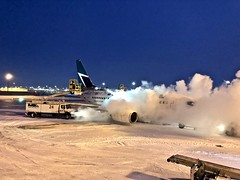 Cold Morning Deicing (b737yyc) Tags: cyyc calgary calgaryairport airport deicing b737 alberta canada winter cold snow takenatwork westjet