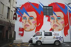 Ziggy Stardust and the Hippie Camper (Paul J's) Tags: wellington cbd landscape streetart graffiti wilson carpark ghuzneestreet leedsst van vehicle mitsubishi l300 jam david bowie ziggystardust hippiecamper