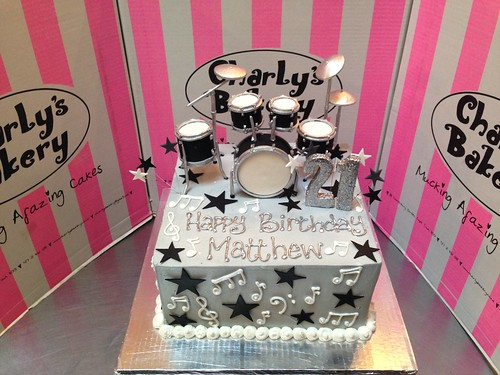 Swell 21St Birthday Cake Iced Grey Butter Icing With 3D Drum Set Topper Funny Birthday Cards Online Aboleapandamsfinfo