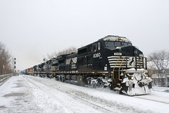 A mix of NS and G&W power (Michael Berry Railfan) Tags: stlawrenceandatlanticrailroad slr slr393 cp canadianpacific lasalle montreal quebec train freighttrain adirondacksub winter snow ns8380 ns9803 ns9448 qgry3105 slr3035 norfolksouthern ge generalelectric dash8 dash840cw dash9 dash944cw dash940cw