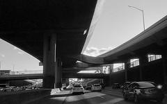 driving the 110 southbound, LA (carlfieler) Tags: freeway interstate bridge driving monochrome analog 35mm 35mmfilm monochromefilm blackandwhite blackandwhitefilm arista aristaeduultra canona1 canonfd fd35mm losangeles the110