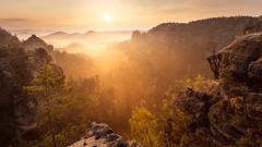 magic sunrise (cfaobam) Tags: sächsische schweiz landscape herbst sonnenaufgang nebel elbsandsteingebirge natur landschaft sunrise nature hiking wandern felsen rocks germany deutschland saxony switzerland sony cfaobam a7r globetrotter visipix morning fog saxon