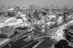 Bangkok Skyline (Kristaaaaa) Tags: thailand travel bangkok skyline city cityscape scene longexposure fuji xt2 buildings dusk urban lights fujilove bw bnw black white blackandwhite blackwhite mono traveller travelphotography nomad wanderlust photo asia photograph southeastasia adventure fujifilm fujix fujixseries fujixt2 monochrome