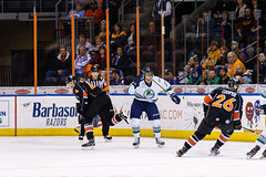 "Kansas City Mavericks vs. Florida Everblades, February 18, 2018, Silverstein Eye Centers Arena, Independence, Missouri.  Photo: © John Howe / Howe Creative Photography, all rights reserved 2018 • <a style=""font-size:0.8em;"" href=""http://www.flickr.com/photos/134016632@N02/26516786548/"" target=""_blank"">View on Flickr</a>"