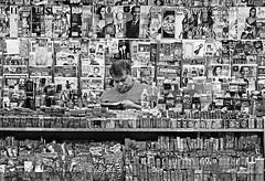 subway shop (albyn.davis) Tags: people store blackandwhite man salesman subway city urban nyc newyorkcity usa