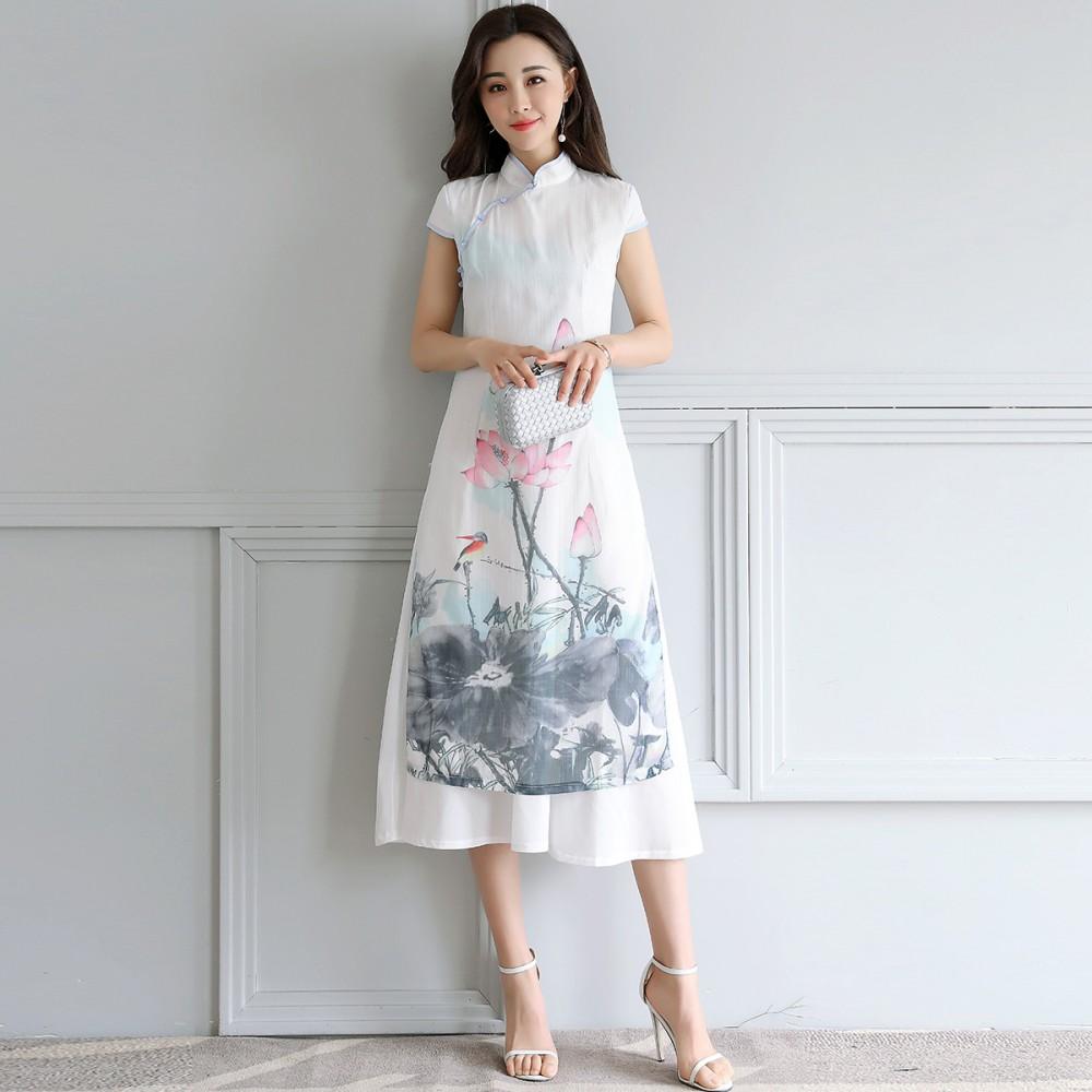 Im frühjahr und Sommer cheongsam kleid Lange 2017 neUe temperament SLIM - retro - tinte hanfu Lange röcke für Frauen