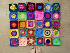 Thirty six-inch crochet squares (crochetbug13) Tags: crochetbug crochet crocheted crocheting crochetsquare crochetcircles grannysquare