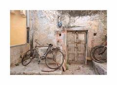 Vélo Jodhpur, Rajasthan, Inde-0546 (helenea-78) Tags: inde jodhpur porte street streetphotography electricité vélo photoderue rajasthan bicyclette