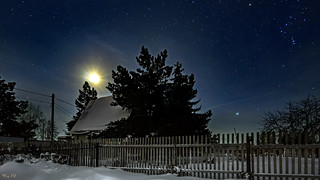 Starry sky in the frosty night of the moon eclipse