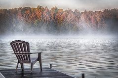 A New Days Hope (Knarr Gallery) Tags: muskoka magnetawan knarrphotography knarrgallery darylknarr dock lake summer mist autumn vacation holiday trees water chair relax calm morning cottage burksfalls