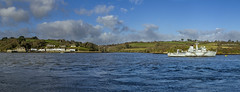 Panorama of HMS Brecon at Jupiter Point (Kev Gregory (General)) Tags: kev gregory canon 7d cornwall england grey military royal navy vessel afloat background green fields blue sky white clouds river lynher training raleigh hms brecon torpoint her majesty ship warship retired