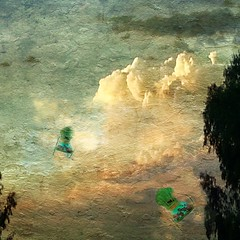 Storm born (lindyginn) Tags: iphoto ipad finger painting art photography storm chairs green nature skies trees surreal dream ethereal clouds grunge blue