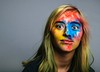Colorful Mia (girltwin) Tags: blue yellow red solo colorful lescolors farben portrait fun creative creativity paint explosion crazy teen teenager girl eyes crazyeyes girltwin nikon nikon3100 wow bizarre cool amusante colores holi festival vividstriking