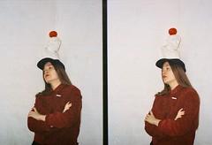 polina karpova. offside2017. lviv. (Yaroslav F.) Tags: polina karpova yaroslav futymskyi kharkiv lviv halfframe half frame photo analog seed lomogrphy kodak vr 400 flash light c art artist cap kepi tomato woman girl long hair