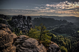 view to the saxon sandstone mountains in the morning