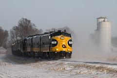 That Hot Cuban Sunshine (Jake Branson) Tags: train railroad railway locomotive emd fp9 keokuk junction kjry aba illinois il snow winter