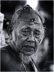 Balinese Hinduism Priest (Luc V. de Zeeuw) Tags: bw bali blackandwhite hinduism indonesia man old priest religon kotadenpasar