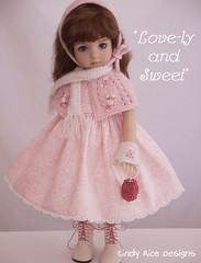"""Love-ly and Sweet"" made for the Little Darlings. (Cindy Rice Designs) Tags: embroidery littledarlings effner capelet cuddlecap mitts doll dress"