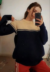 Teen in her knitted wool jumper (Mytwist) Tags: adrieham kinsale arans ireland vintage 100 wool teen out selfie knit fishermans jumper navy vgc knitwear outfit style fashion sweater sexy