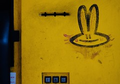 Shanghai bunny (dagboshoots) Tags: 35mm xt2 fuji fujifilm graffiti dagbshoots worktravel travel china shanghai telephone yellow rabbit bunny dagboshoots dagbo