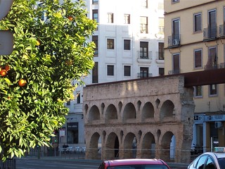 Roman aqueduct in middle of road, Seville