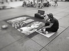 When a street artist feels lonely (LUMEN SCRIPT) Tags: blackwhite urbanphotography urbanlife paris people streetartist streetphotography focus blur dream monochrome candid sundaylights street publicspace str